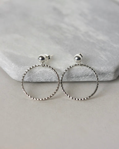 Sterling Silver Circle and Post Earrings