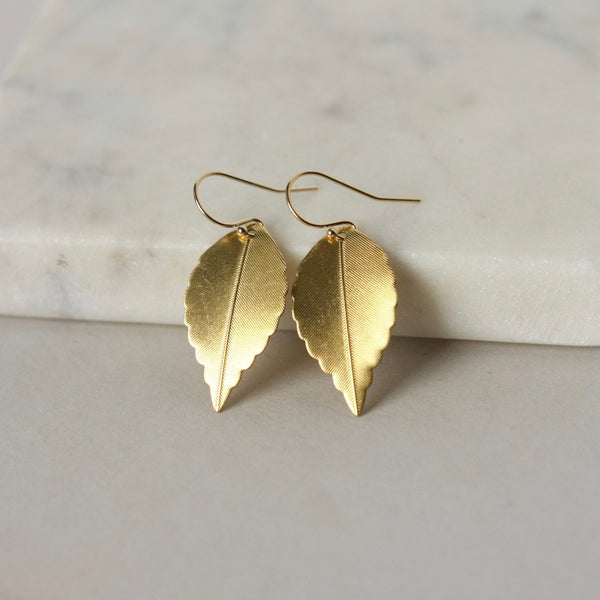 Shiny Raw Brass Leaf Earrings