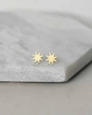 Tiny Brass Star Stud Earrings