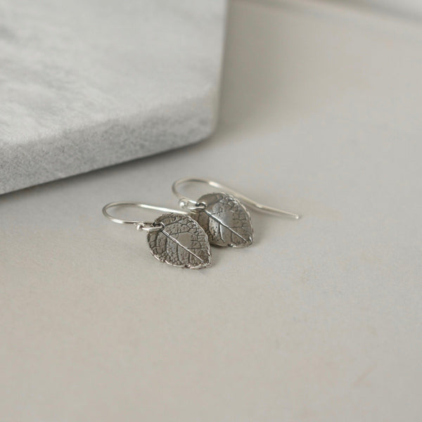 Small Sterling Silver Leaf Dangle Earrings