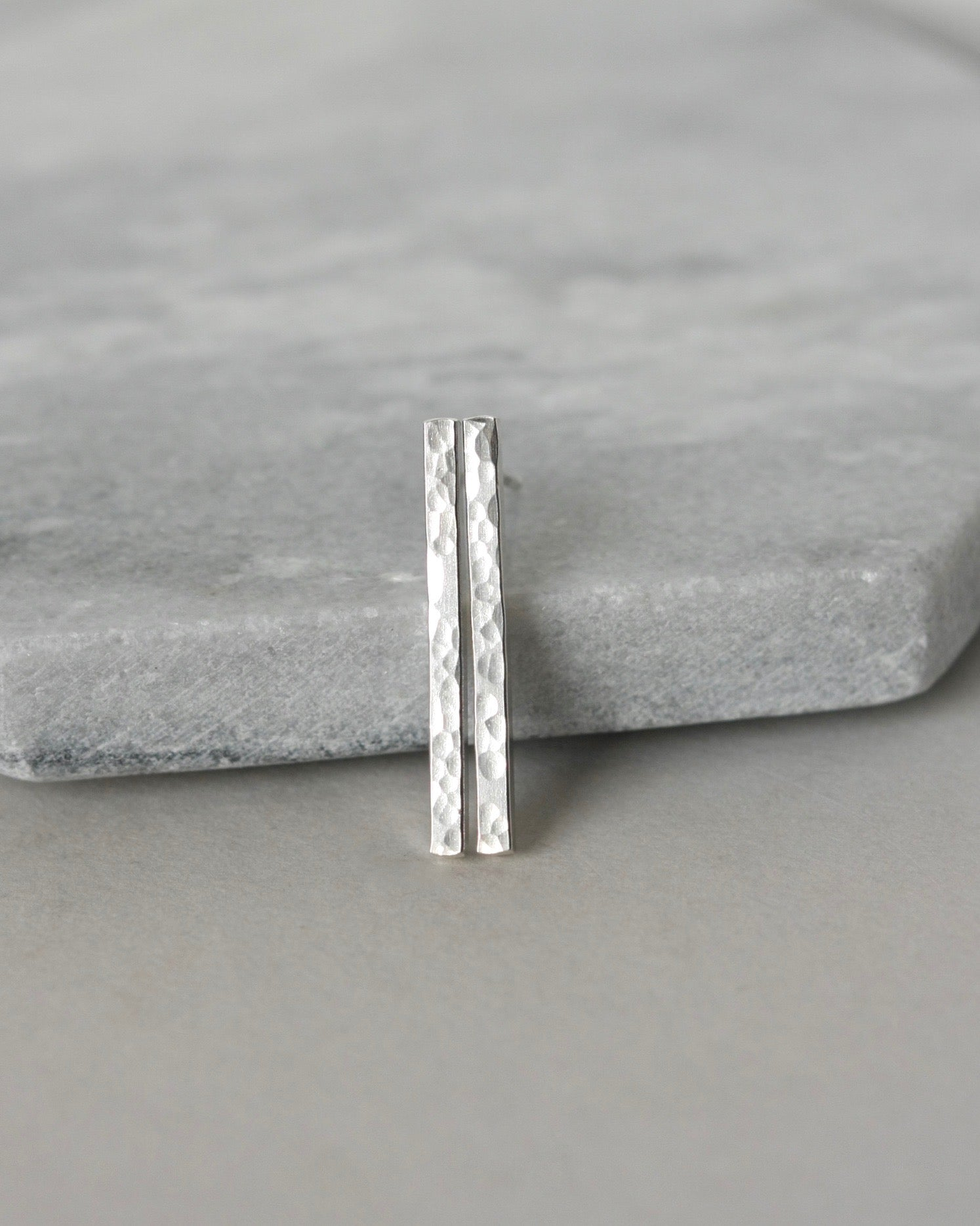Hammered Sterling Silver Bar Earrings