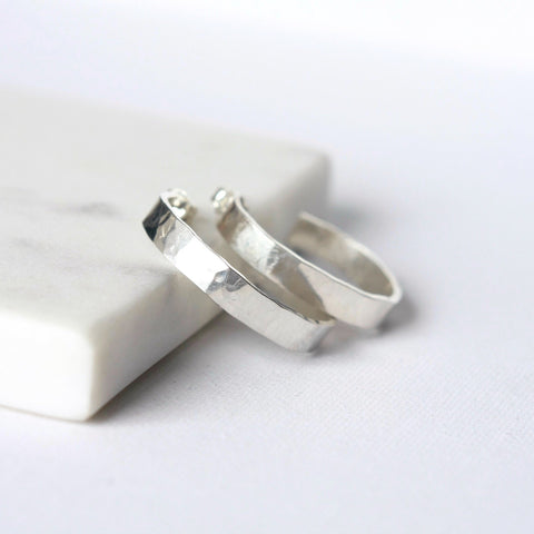 Wide Hammered Sterling Silver Hoop Earrings
