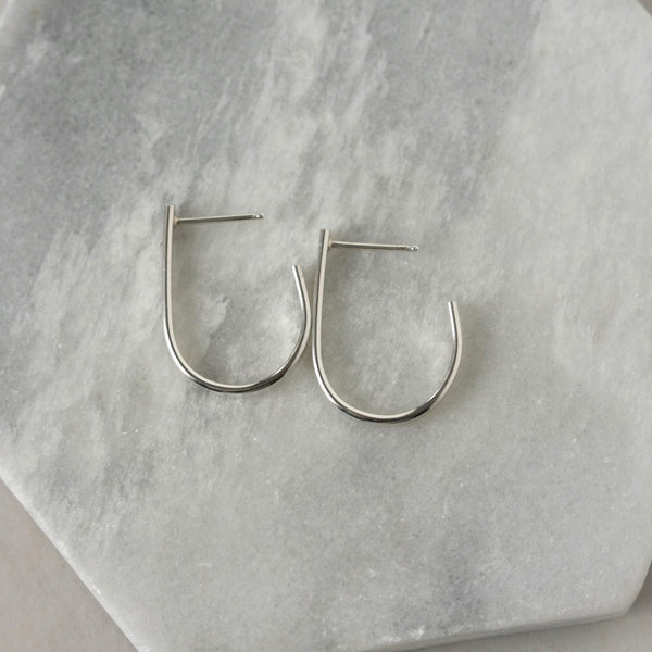 Hammered Sterling Silver Circle Stud Earrings
