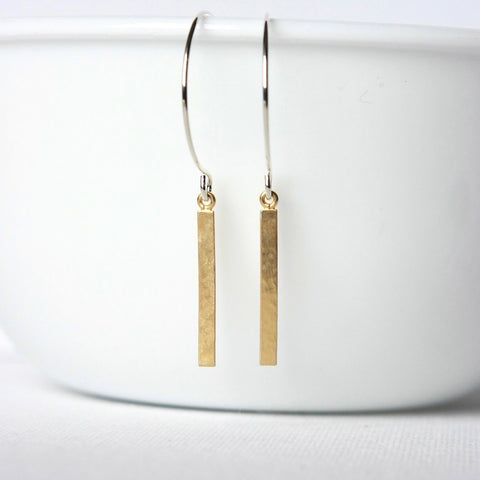 Sterling Silver and Gold Vermeil Hammered Bar Earrings