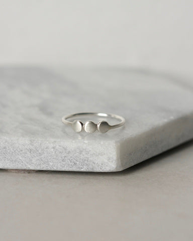 Sterling Silver Three Pebble Ring
