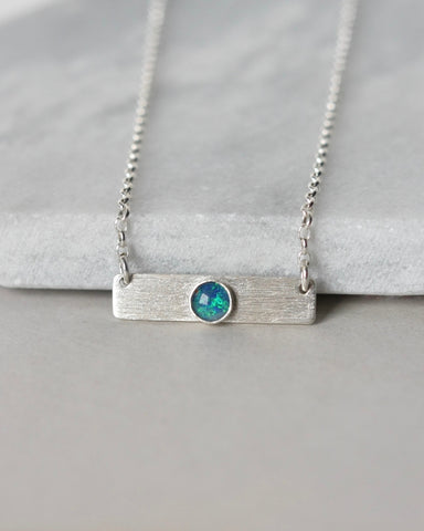 Sterling Silver Geometric Opal Bar Necklace
