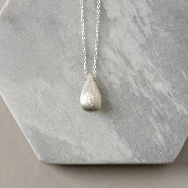 Brushed Sterling Silver Teardrop Charm Necklace