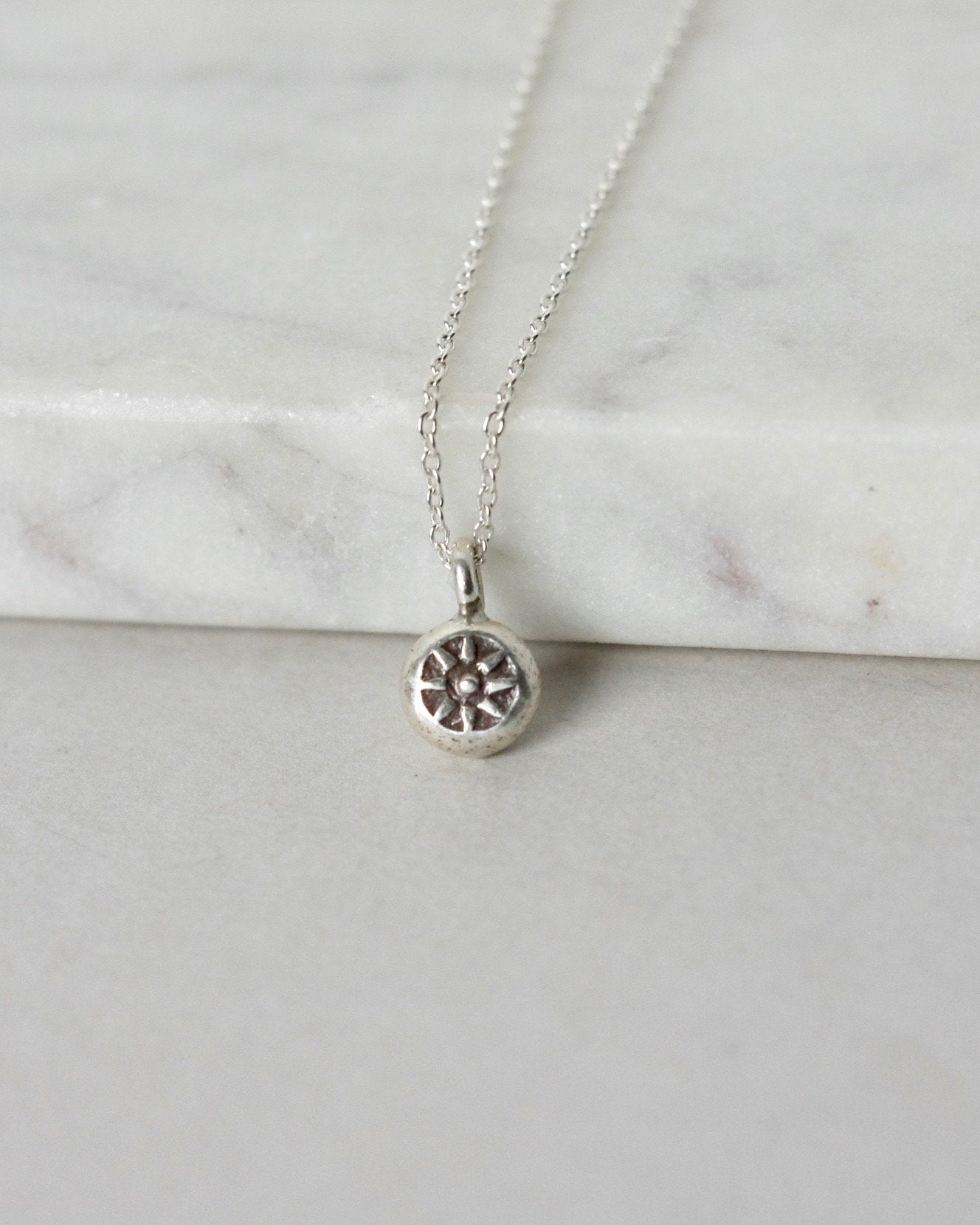Tiny Rustic Sterling Silver Sun Necklace