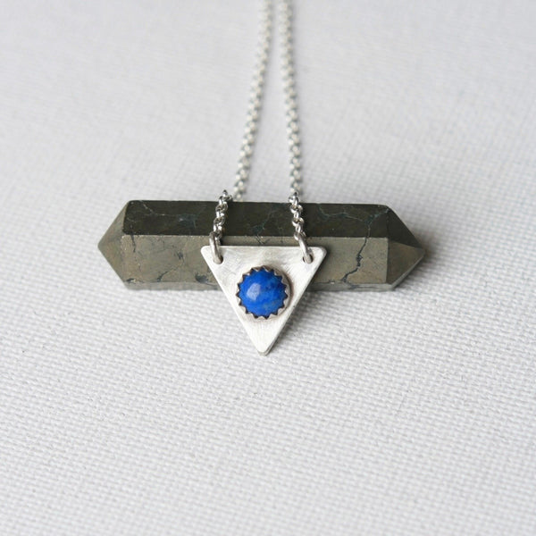 Lapis Lazuli Sterling Silver Triangle Necklace