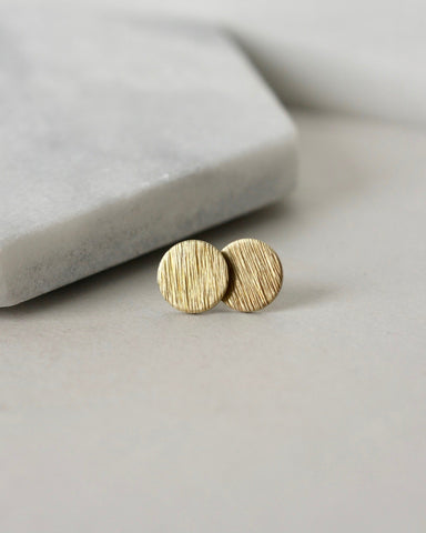 Textured Raw Brass Circle Stud Earrings