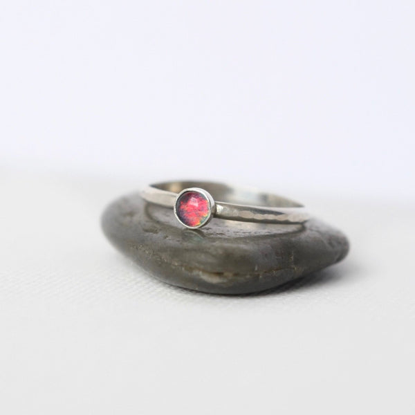 Sterling Silver Australian Opal Stacking Ring