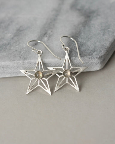 Faceted Labradorite Sterling Silver Star Earrings