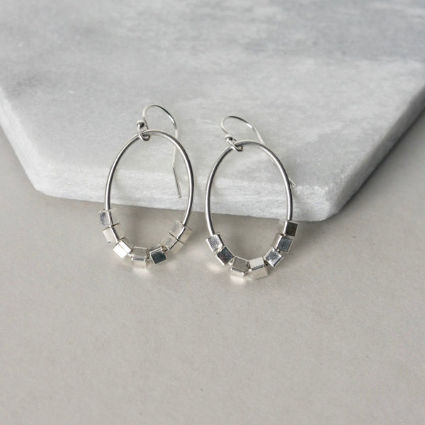 Sterling Silver Geometric Dangle Earrings