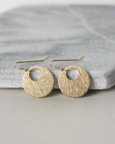 Shiny Brass Geometric Circle Earrings