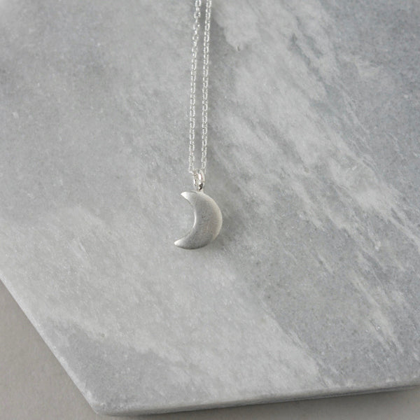 Sterling Silver Crescent Moon Celestial Necklace