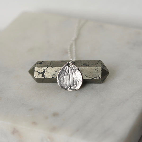 Rustic Sterling Silver Petal Pendant Necklace