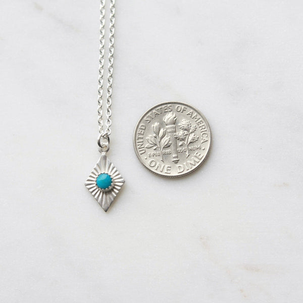 Turquoise and Sterling Silver Diamond Charm Necklace