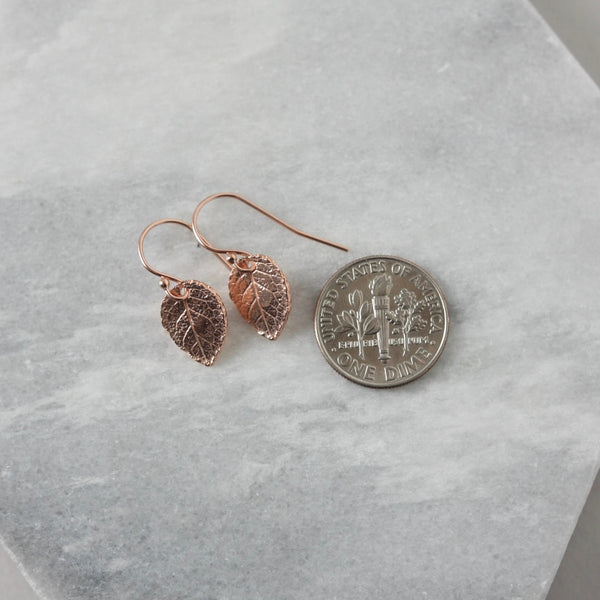 Small Rose Gold Leaf Earrings