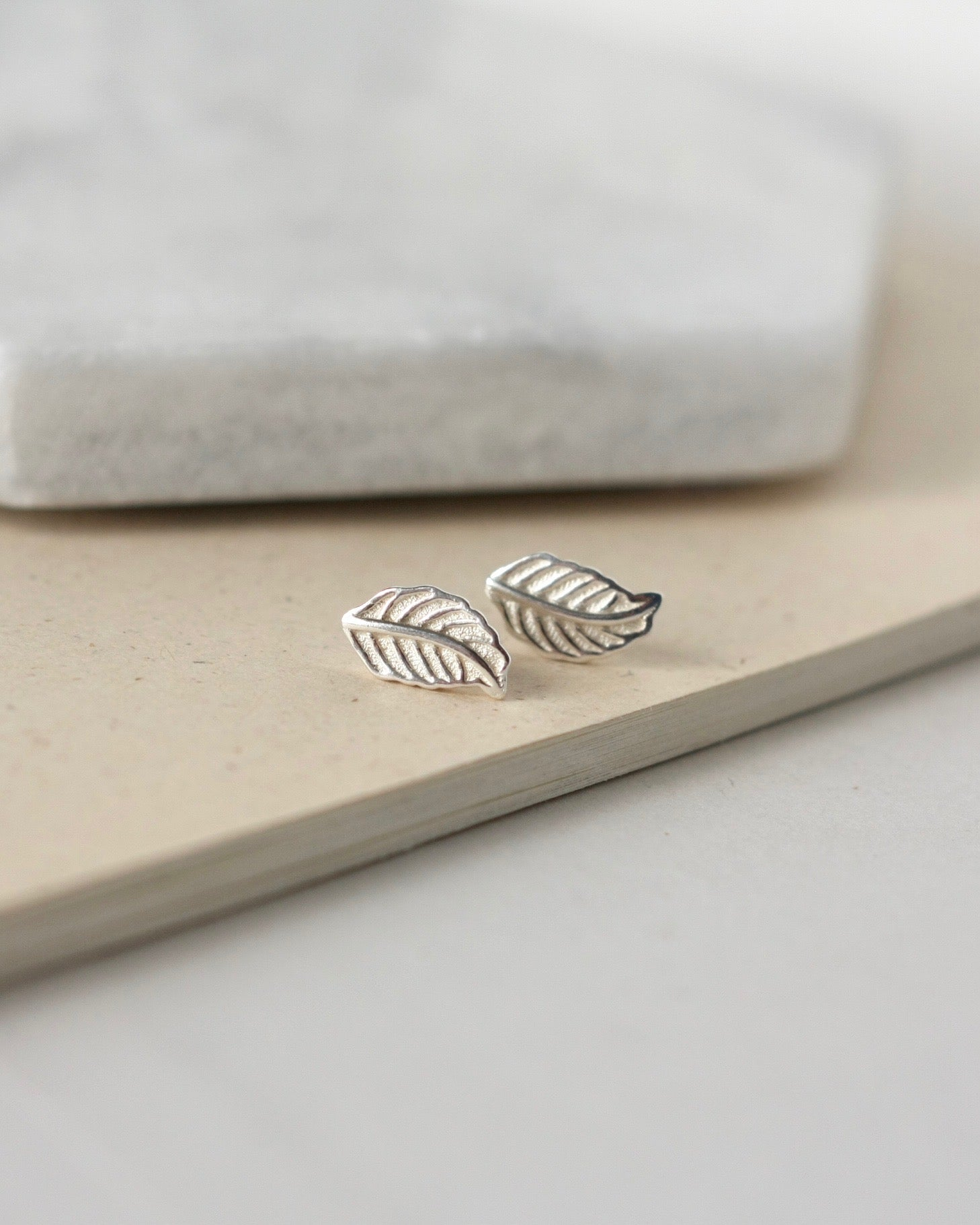 Minimalist Small Sterling Silver Leaf Stud Earrings