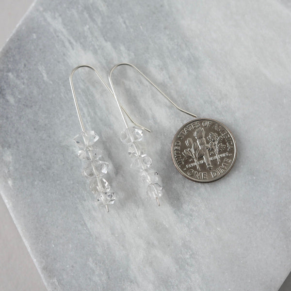 Herkimer Diamond Sterling Silver Dangle Earrings
