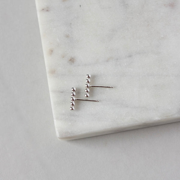 Tiny Sterling Silver Beaded Line Earrings