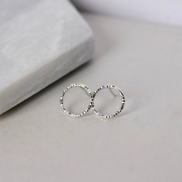 Sparkly Circle Sterling Silver Stud Earrings