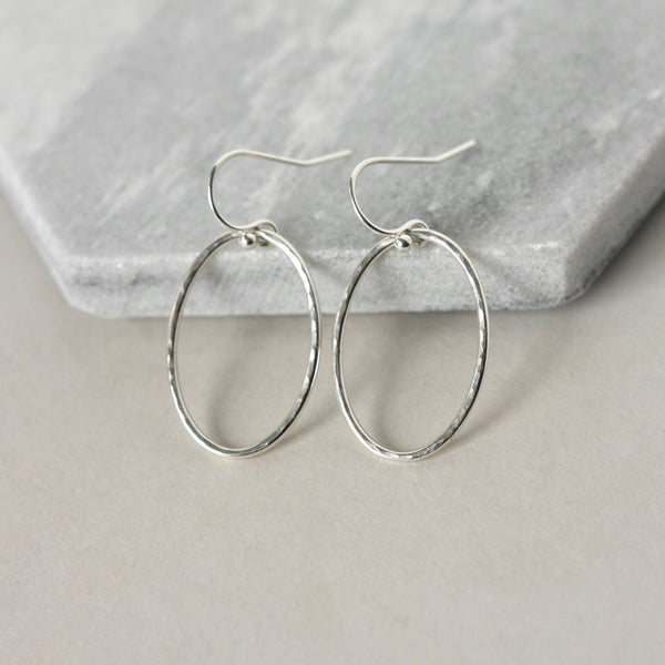 Sterling Silver Oval Geometric Earrings