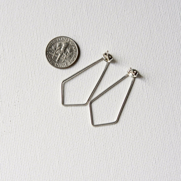 Sterling Silver Kite-Shaped Post Earrings