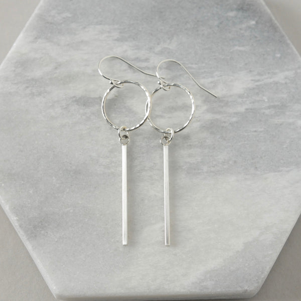 Long Sterling Silver Geometric Earrings