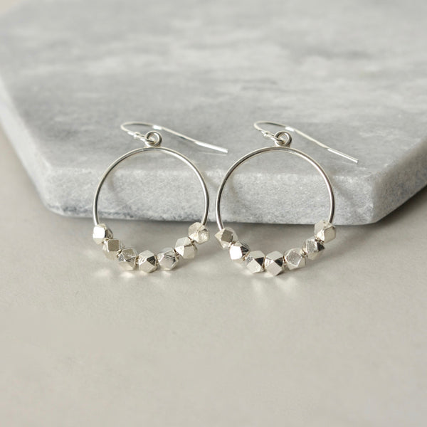 Sterling Silver Nugget Hoop Earrings