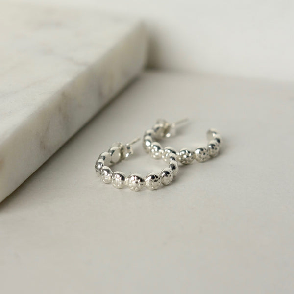 Sterling Silver Floral Hoop Earrings