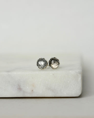 Faceted Rutilated Quartz Sterling Silver Stud Earrings