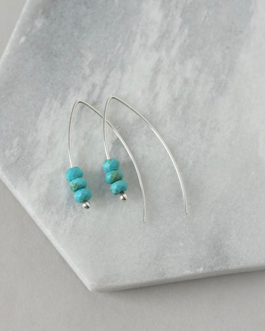 Faceted Sterling Silver Turquoise Earrings