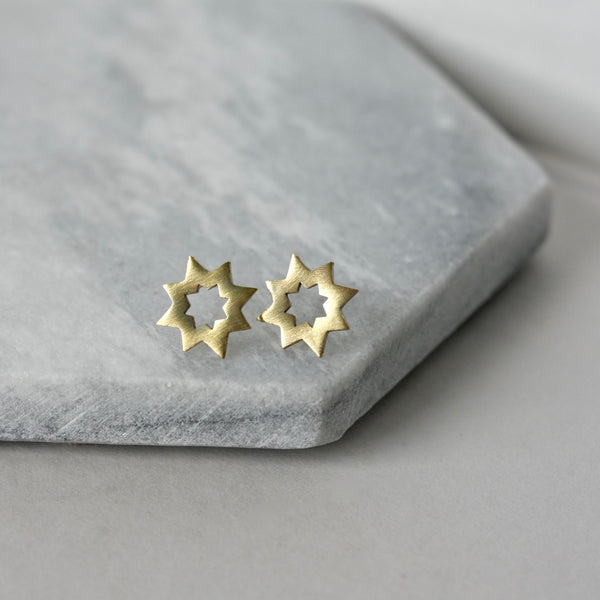 Brass Star Stud Earrings