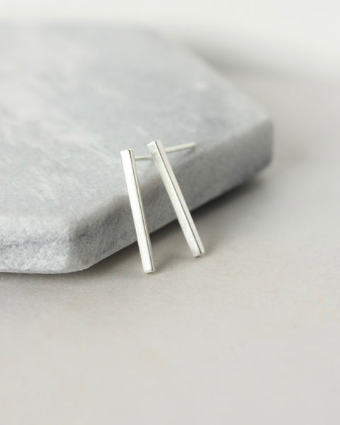 Skinny Sterling Silver Bar Earrings