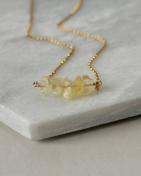 Raw Gemstone Nugget Gold Necklace