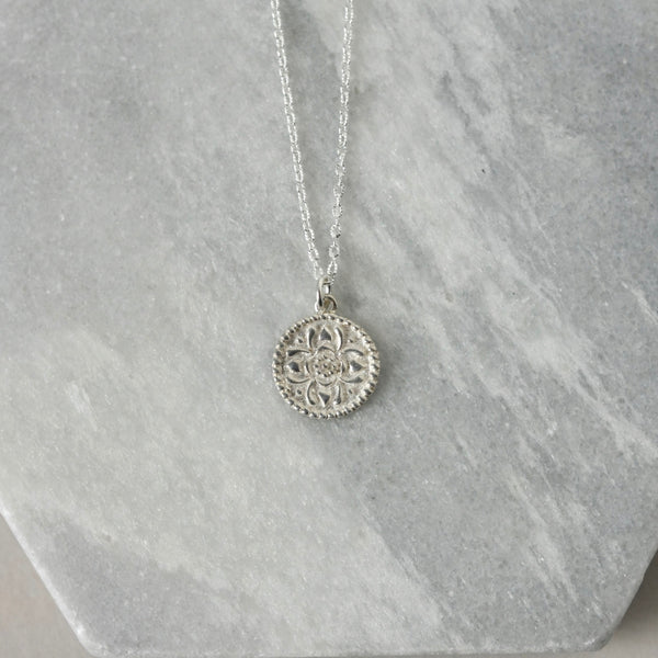 Sterling Silver Coin Medallion Necklace