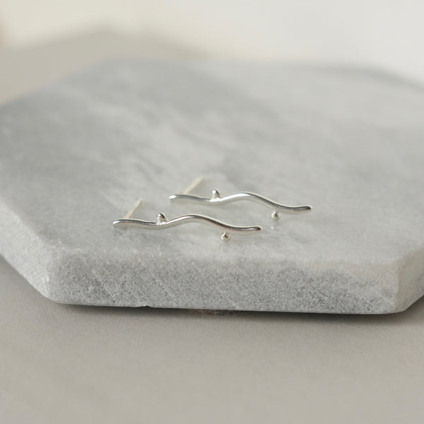 Sterling Silver Vine Branch Stud Earrings