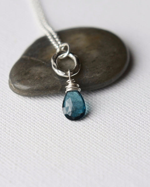 Faceted London Blue Topaz Sterling Silver Necklace