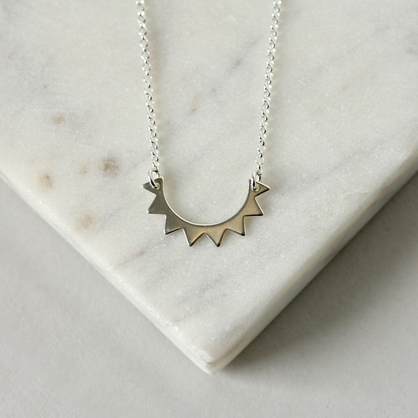 Sterling Silver Half Sun Celestial Necklace