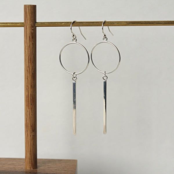Long Geometric Sterling Silver Bar Earrings