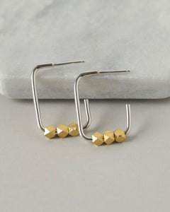 Mixed Metal Sterling Silver Square Hoops