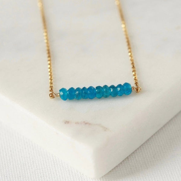 Faceted Apatite Gemstone Bar Necklace