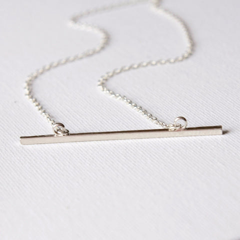 Skinny Sterling Silver Bar Necklace