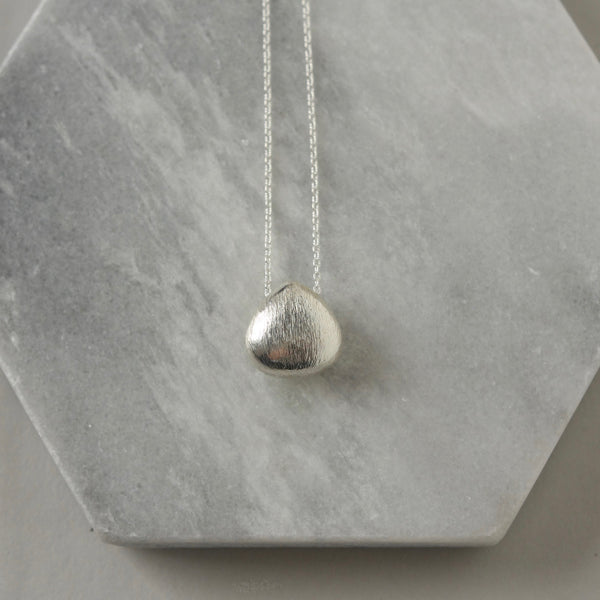 Brushed Sterling Silver Teardrop Pendant Necklace