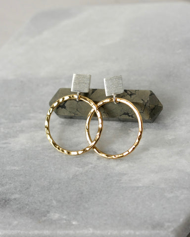 Mixed Metal Hammered Hoop Earrings