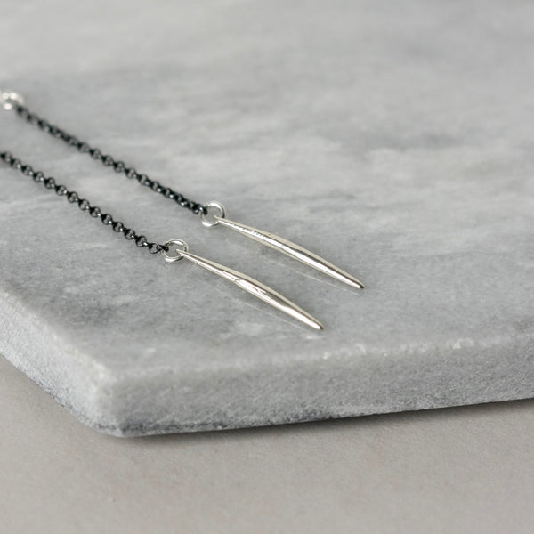 Long Skinny Sterling Silver Spike Earrings
