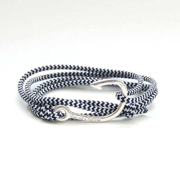 Nautical Rope Bracelet Hook Silver Plated Navy White