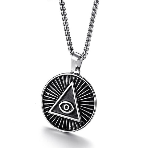 Engraved All Seeing Eye Necklace [Stainless Steel]