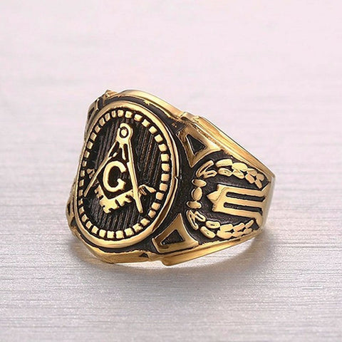 Gold Freemason Signet Ring